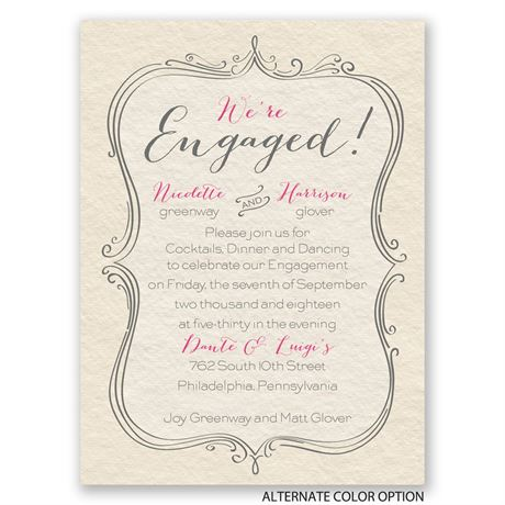 Elegant Crest - Petite Engagement Party Invitation