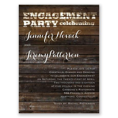 Rustic Love Petite Engagement Party Invitation