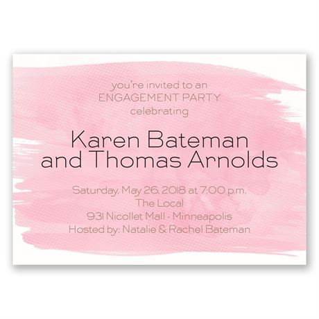 Strokes of Color Mini Engagement Party Invitation