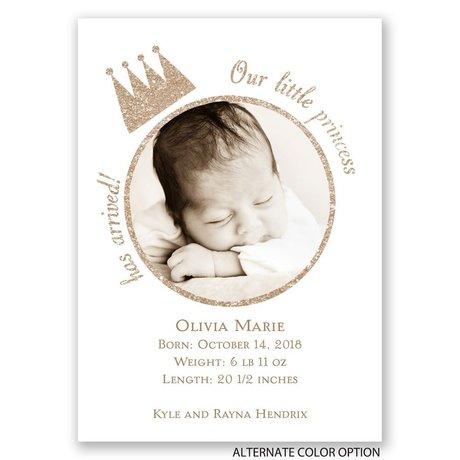 Our Little Princess - Faux Glitter - Mini Birth Announcement
