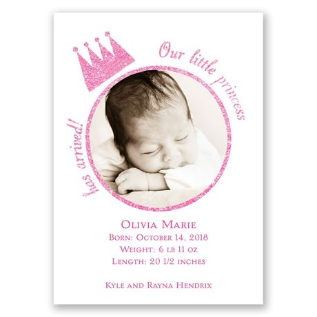 Our Little Princess Faux Glitter Mini Birth Announcement
