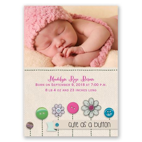 Buttons Mini Birth Announcement