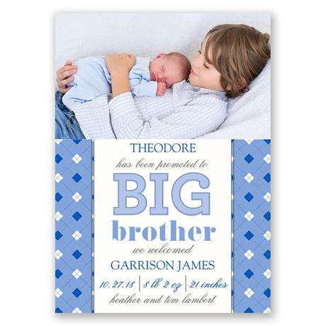 Big Bro Promotion Mini Birth Announcement