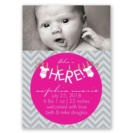 "She""s Here! - Mini Birth Announcement"