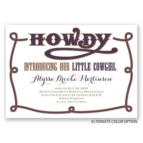 Little Cowgirl - Birth Announcement