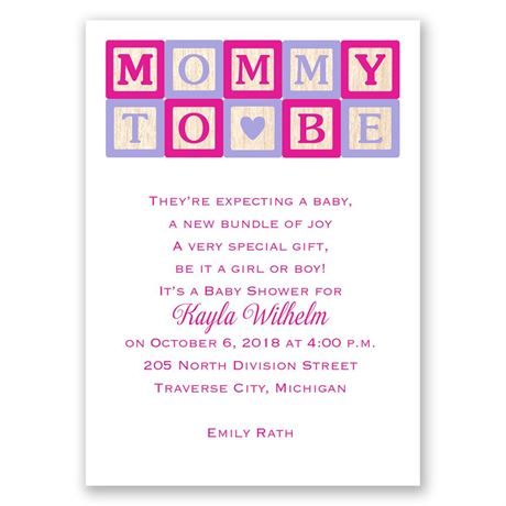 Mommy Blocks Mini Baby Shower Invitation