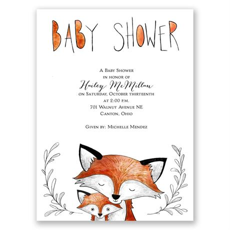 Fox Fun Petite Baby Shower Invitation