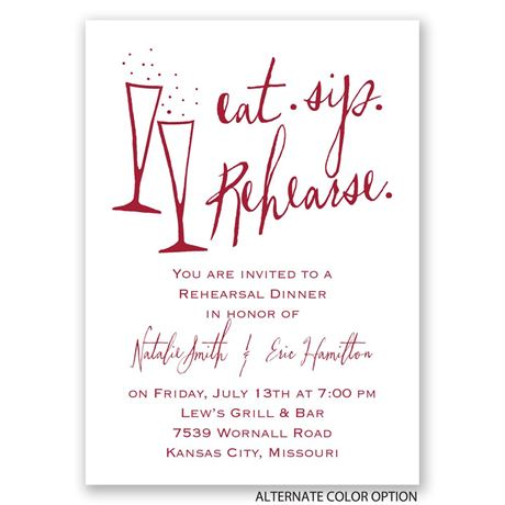 Eat, Sip, Rehearse - Mini Rehearsal Dinner Invitation