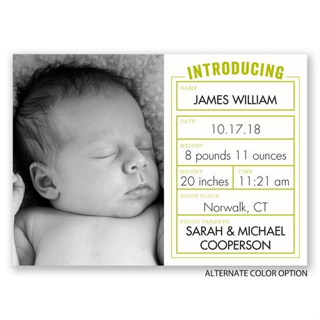Baby Stats - Mini Birth Announcement