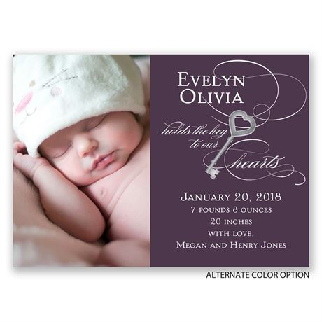Key to Our Hearts - Mini Birth Announcement