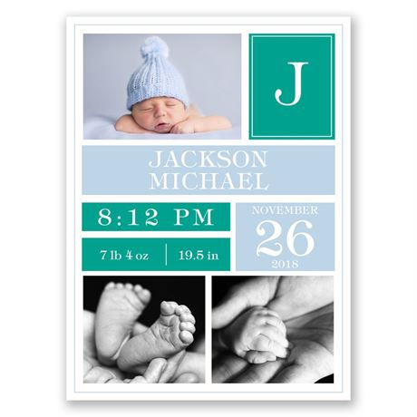 Bundled Blocks Petite Birth Announcement