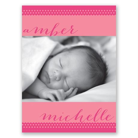 Polka Dot Borders Petite Birth Announcement