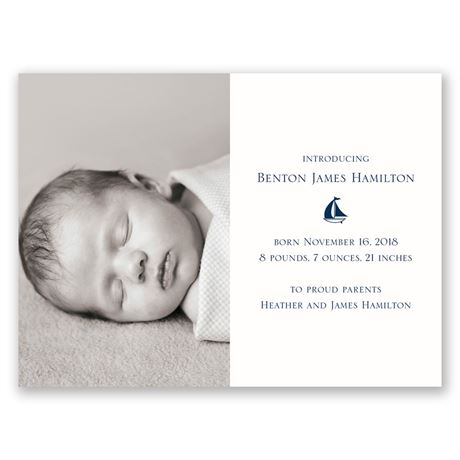 Our Little Sailor Petite Birth Announcement