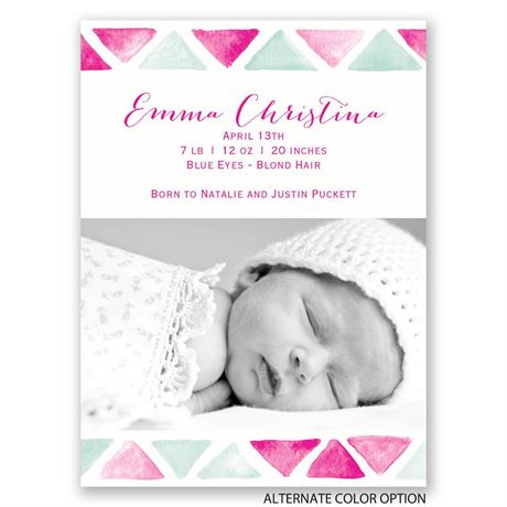 Watercolor Tile - Petite Birth Announcement
