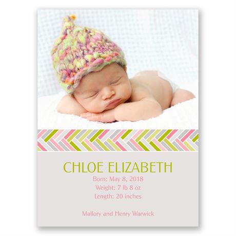 Bright & Beautiful Petite Birth Announcement