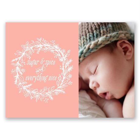 Sugar & Spice Petite Birth Announcement