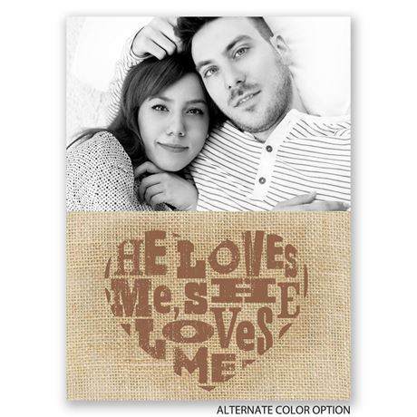 He Loves Me - Petite Engagement Party Invitation
