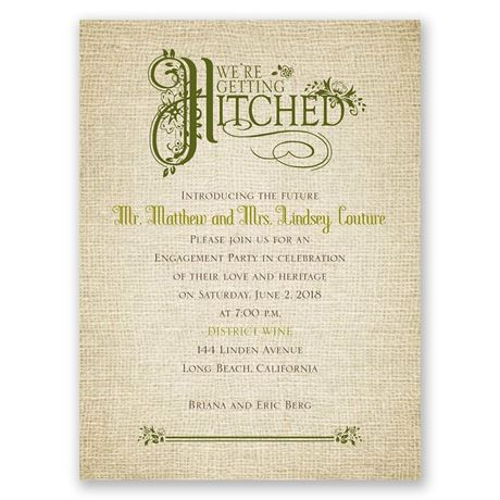 Rustic Charm Petite Engagement Party Invitation