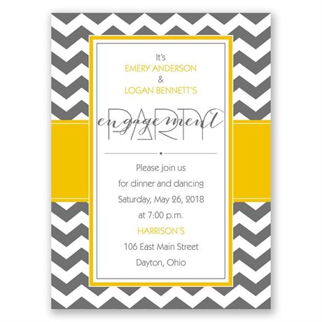 Sharp Chevron Petite Engagement Party Invitation