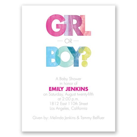 Watercolor Fun - Petite Baby Shower Invitation