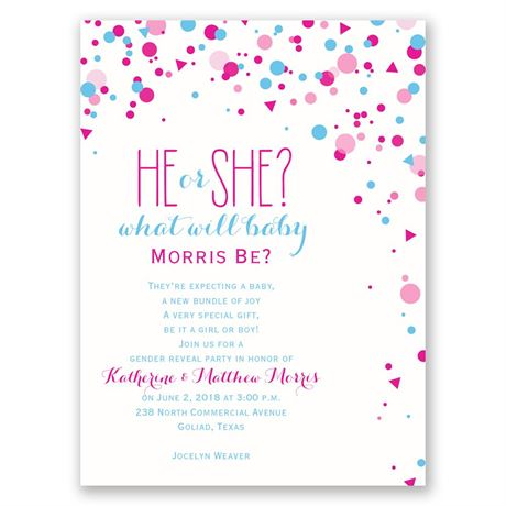 Pretty Confetti Petite Gender Reveal Invitation Invitations By Dawn