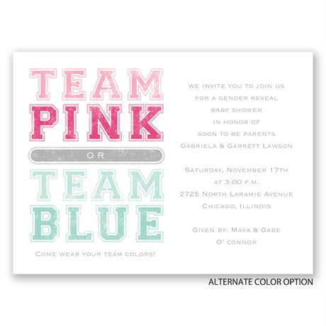Team Colors - Petite Gender Reveal Invitation
