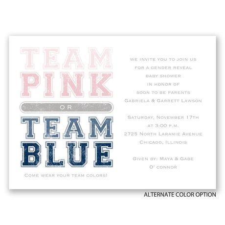Team Colors - Petite Gender Reveal Invitation