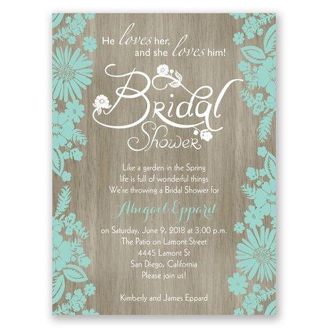 Flowers And Woodgrain Petite Bridal Shower Invitation