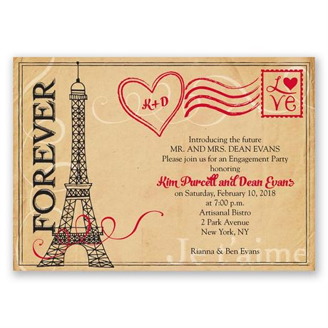 Pretty Postage Engagement Party Invitation