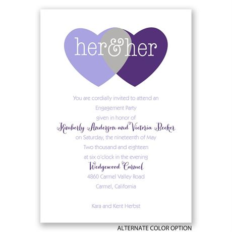 Shared Love - Mrs. and Mrs. - Engagement Party Invitation