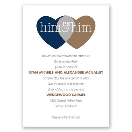 Shared Love Mr. and Mr. Engagement Party Invitation