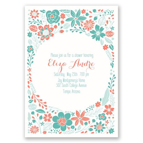 Pretty Little Flowers Bridal Shower Invitation