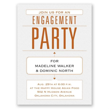 Trendy Statement Petite Engagement Party Invitation
