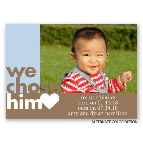 We Chose Him - Mini Adoption Announcement