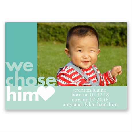 We Chose Him Mini Adoption Announcement