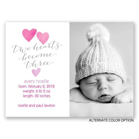 Three Hearts - Petite Birth Announcement