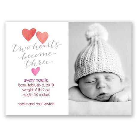 Three Hearts Petite Birth Announcement