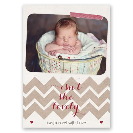 Rustic Chevron Birth Announcement