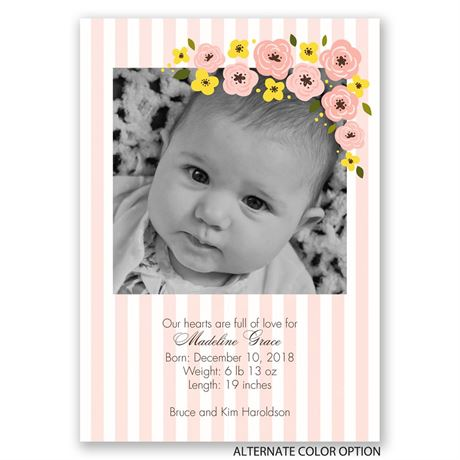 Flowers and Stripes - Birth Announcement