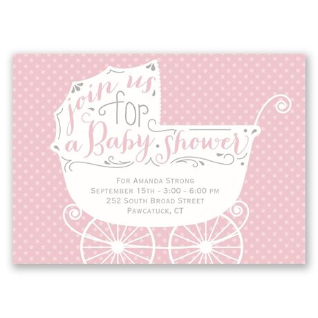 Baby Carriage Mini Baby Shower Invitation