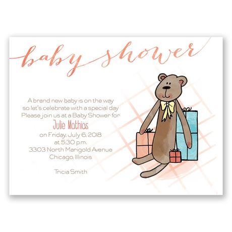 Sweet Teddy Bear Petite Baby Shower Invitation