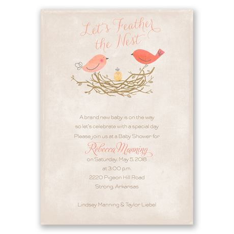 Feather the Nest - Baby Shower Invitation