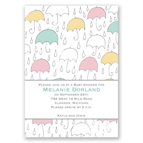 Under the Umbrellas Baby Shower Invitation