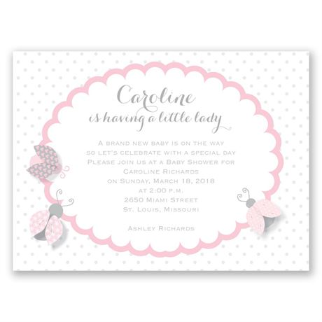 Ladybugs - Petite Baby Shower Invitation
