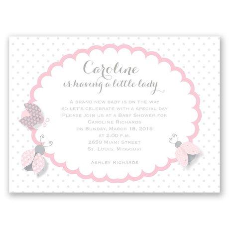 Ladybugs Petite Baby Shower Invitation