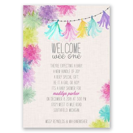 Watercolor Garland - Baby Shower Invitation