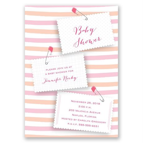 Pink Diaper Pins Baby Shower Invitation