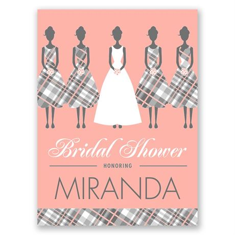 Bridesmaids in Plaid Petite Bridal Shower Invitation