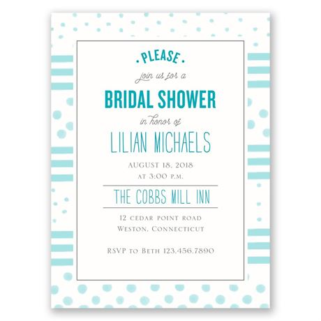 Dots and Stripes Petite Bridal Shower Invitation