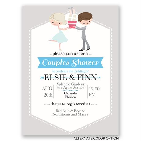 Cute Couple - Petite Wedding Shower Invitation